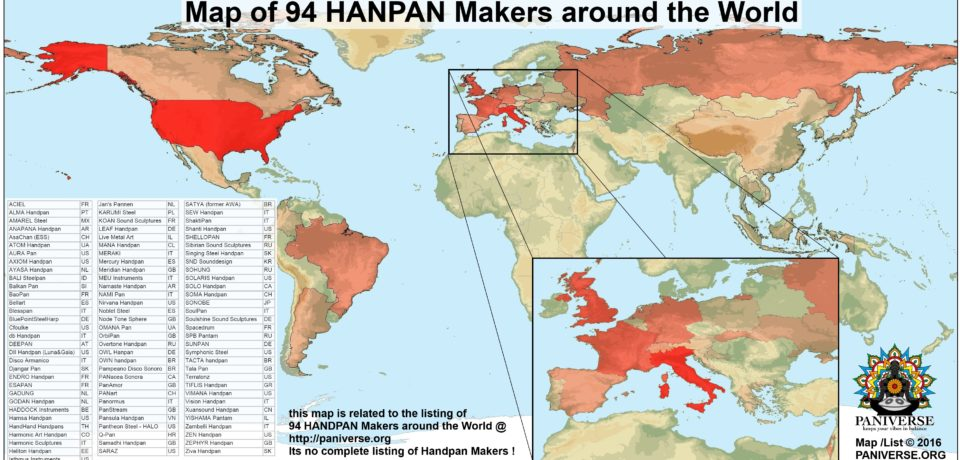 PANIVERSE List & Map of 94 Handpan Makers around the World