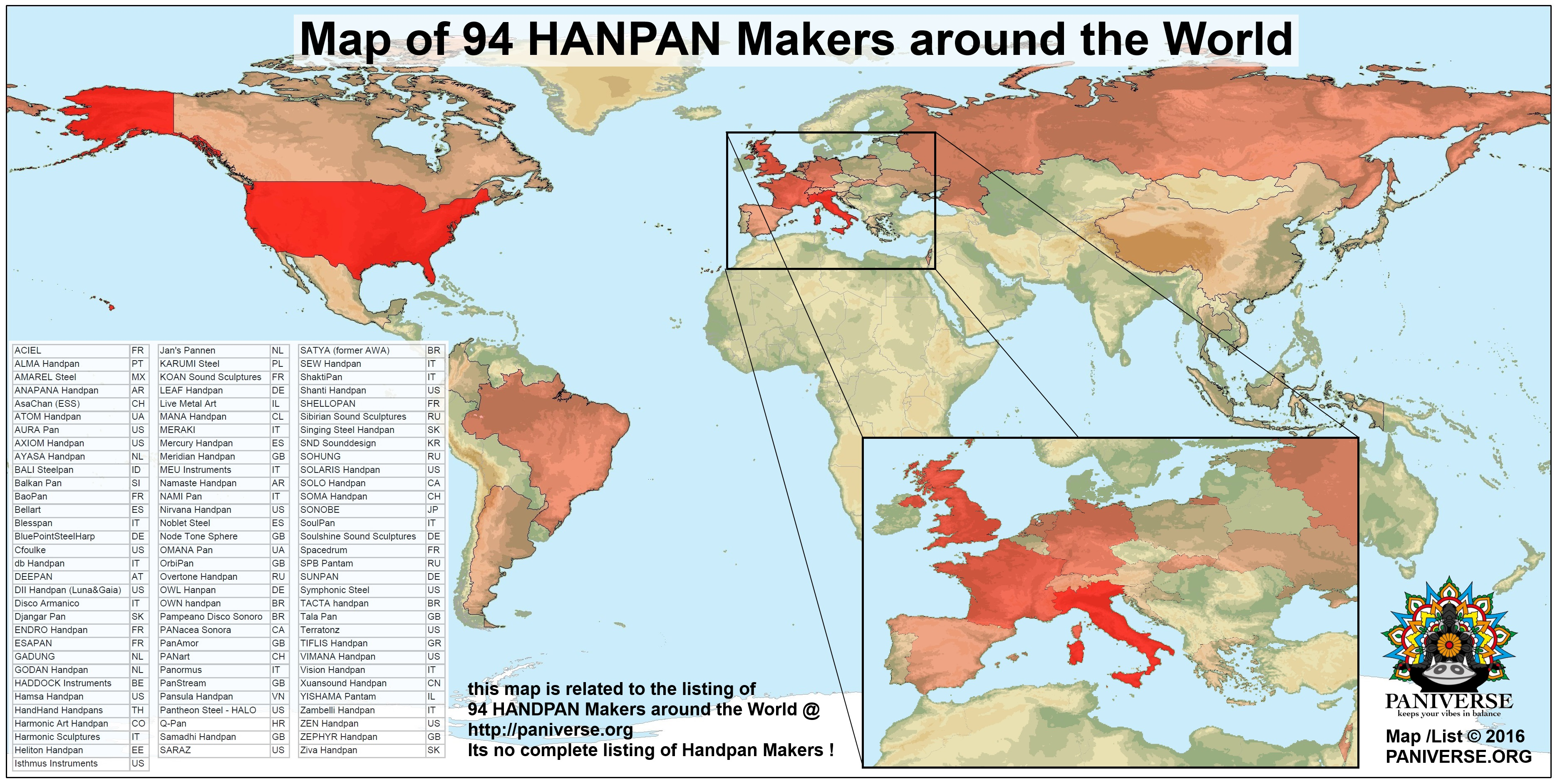 PANIVERSE List & Map of 94 Handpan Makers around the World ...